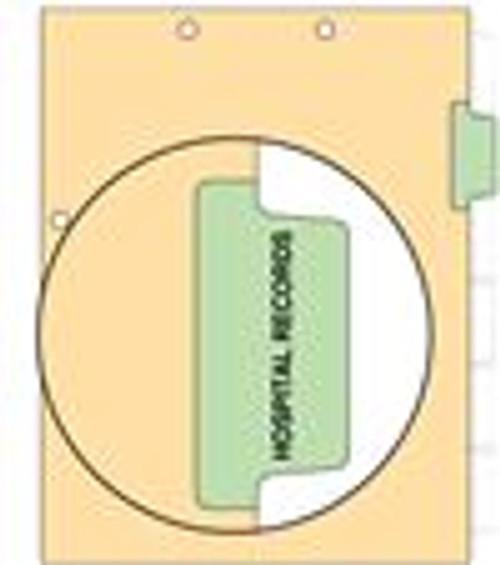 """""""Hosp Records""""  Side Tab - 110 lb Manila Index Chart Divider-Hosp Records - Green Tab Position 2 - 100/pk"""