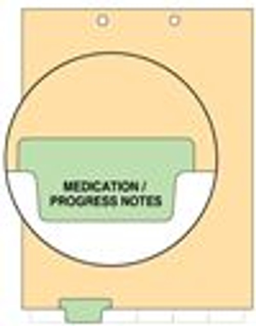 """Medication/Progress Notes""  Bottom Tab Index Chart Divider - Green Tab in Position 2 - 100/Pack"