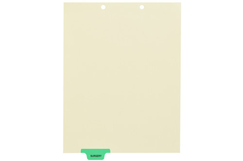 """Surgery"" Bottom Tab Index Chart Divider - Light Green Colored Tab in Position 2 - 100/pk"