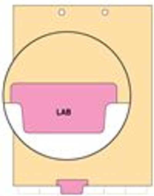 """Lab""  Bottom Tab Index Chart Divider - Pink Tab in Position 3 - 100/Pack"