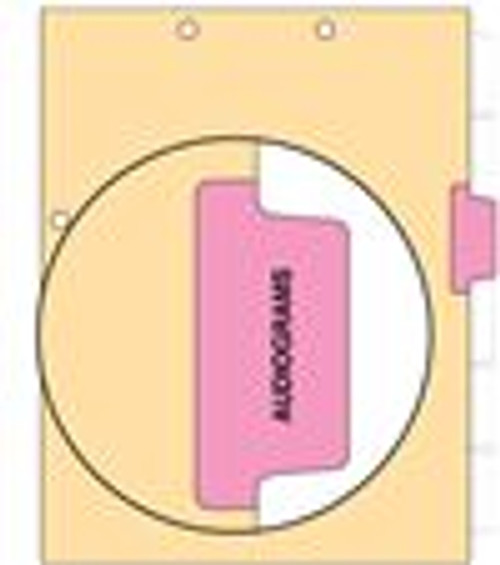 """Augiograms"" Side Tab 110 lb Manila Index Chart Divider-Audiograms - Pink Tab Position 3 - 100/pk"