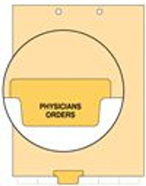 """Physicians Orders"" Bottom Tab Index Chart Divider - Yellow Tab in Position 3- 100/Pack"