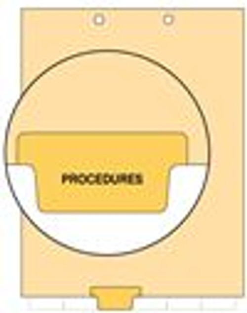 """""""Procedures"""" Bottom Tab Index Chart Divider - Yellow Tab in Position 3 - 100/Pack"""
