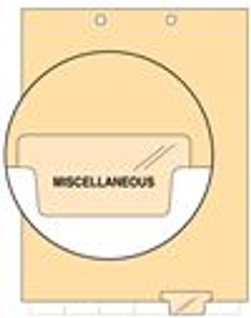 """""""Miscellaneous"""" Bottom Tab Index Chart Divider - Clear Tab in Position 5 - 100/Pack"""