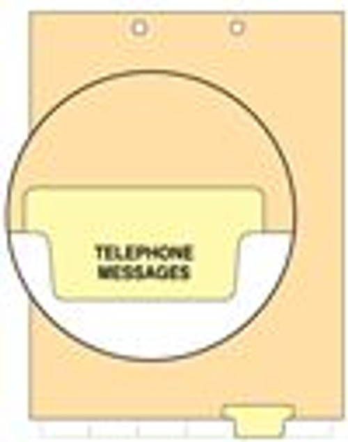"""Telephone Message"" Bottom Tab Index Chart Divider - Yellow Tab in Position 5 - 100/Pack"