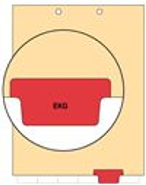 """EKG"" Bottom Tab Index Chart Divider  - Red Tab in Position 5 - 100/Pack"
