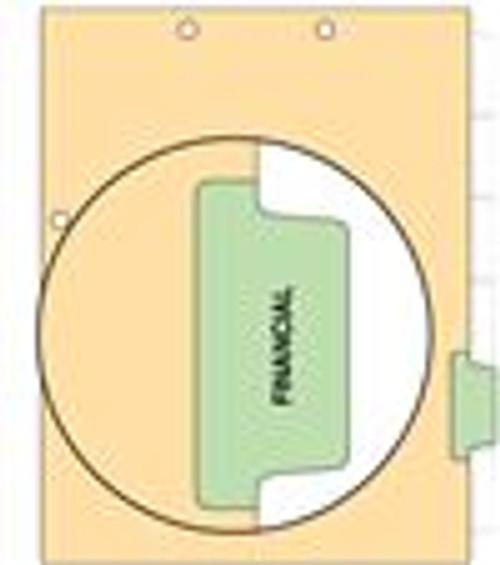 """Financial"" Side Tab 110 lb Manila Index Chart Divider-Financial - Green Tab Position 5 - 100/pk"