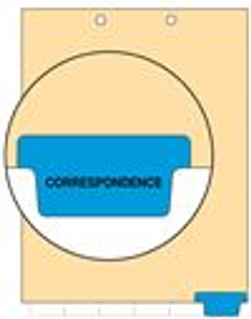 """Correspondence"" Bottom Tab Index Chart Divider - Blue Tab in Position 6 - 100/pk"