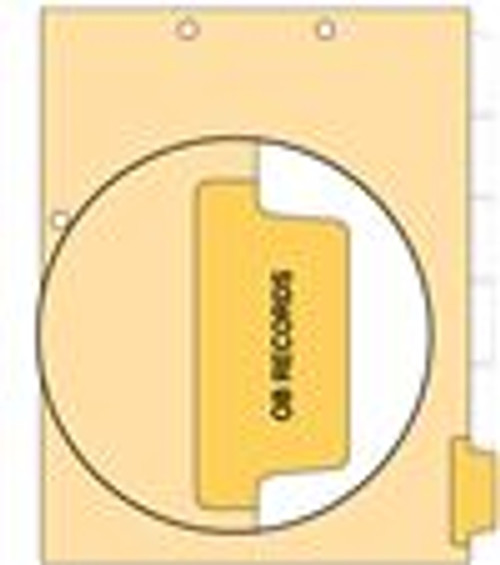 """OB Records"" Side Tab Index Chart Divider- Amber Colored Tab in Position 6 - 100/pk"