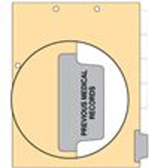 """Previous Medical Record"" Side Tab 110 lb Manila Index Chart Divider-Previous Medical Record - Gray Tab Postion 6 - 100/pk"
