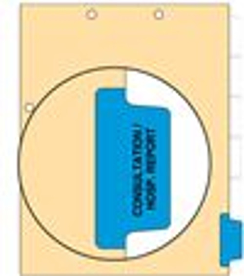"""Consultation/Hosp. Reports - Side Tab 110 lb Manila Index Chart Divider-Blue Tab Position 6 - 100/pk"