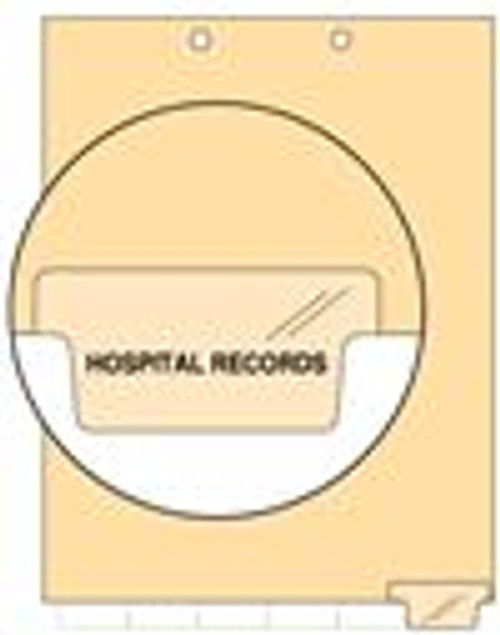 """Hospital Records"" Bottom Tab Chart Divider - ""Hospital Records"" - Clear Colored Tab in Position 6 - 100/pk"