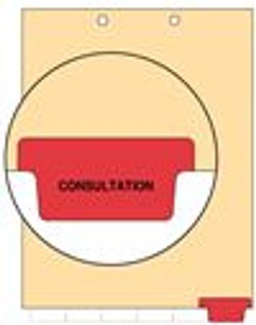 """Consultation""  Bottom Tab 110 lb Manila Index Chart Divider-Consultation - Red Tab Position 6 - 100/pk"