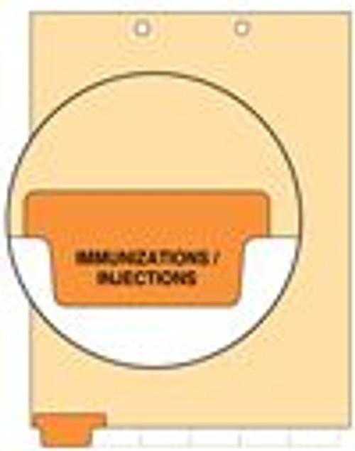 """""""Immunizations/Injections"""" - Index Chart Divider- Bottom Tab in Position 1 - Orange Colored Tab - 100/Package"""