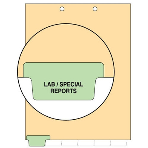 """Lab/Special Reports"" -  Index Chart Divider- Bottom Tab in Position 1 - Light Green Colored Tab - 100/Package"