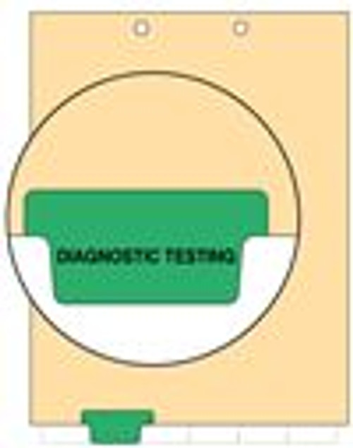 """Diagnostic Testing"" - Index Chart Divider-  Bottom Tab in Position 2 - Green Colored Tab - 100/Package"