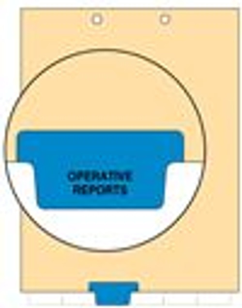 """Operative Reports"" - Index Chart Divider-  Bottom Tab in Position 3 - Blue Colored Tab - 100/Package"