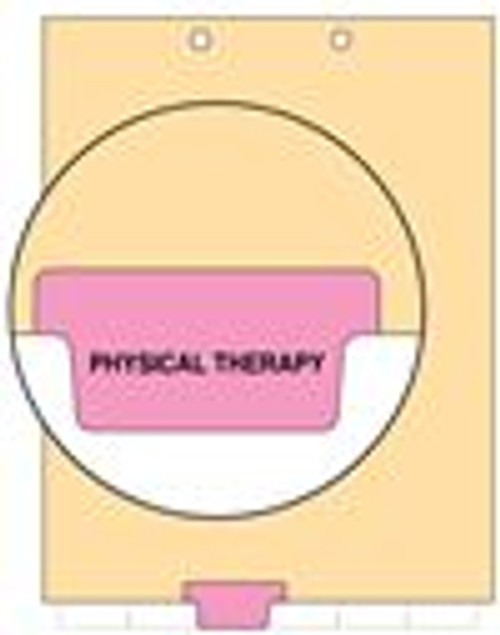 """Physical Therapy"" - Index Chart Divider-  Bottom Tab in Position 3 - Pink Colored Tab - 100/Package"