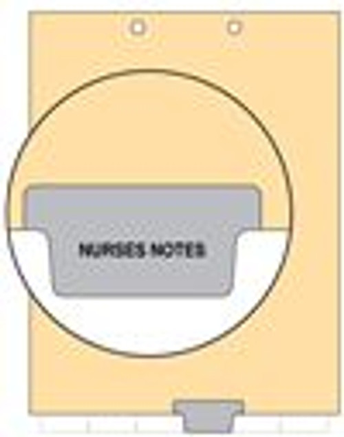 """Nurse Notes"" - Index Chart Divider-  Bottom Tab in Position 4 - Grey Colored Tab - 100/Package"