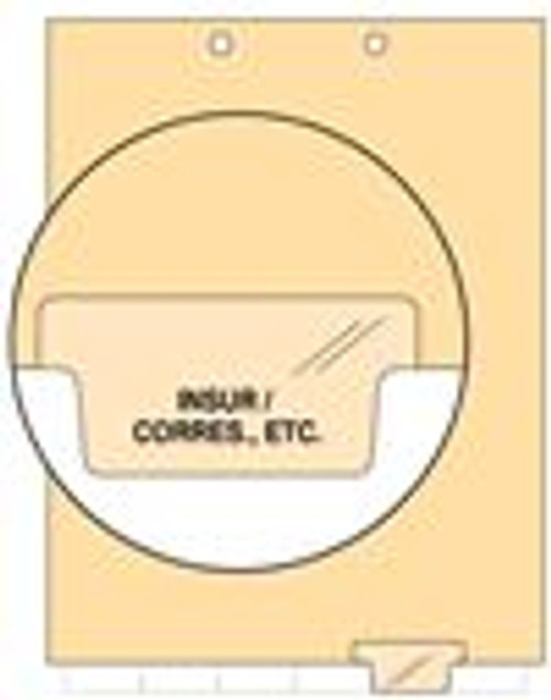 """Insur/Corres., ETC."" - Index Chart Divider-  Bottom Tab in Position 5 - Clear Colored Tab - 100/Package"