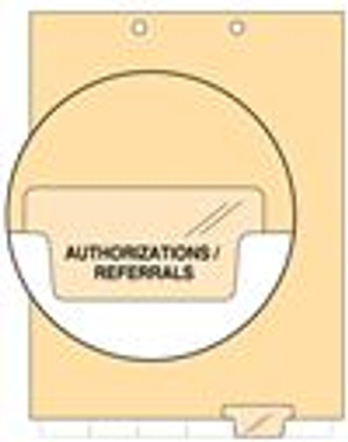 """Authorizations/Referrals - Index Chart Divider-  Bottom Tab in Position 5 - Clear Colored Tab - 100/Package"
