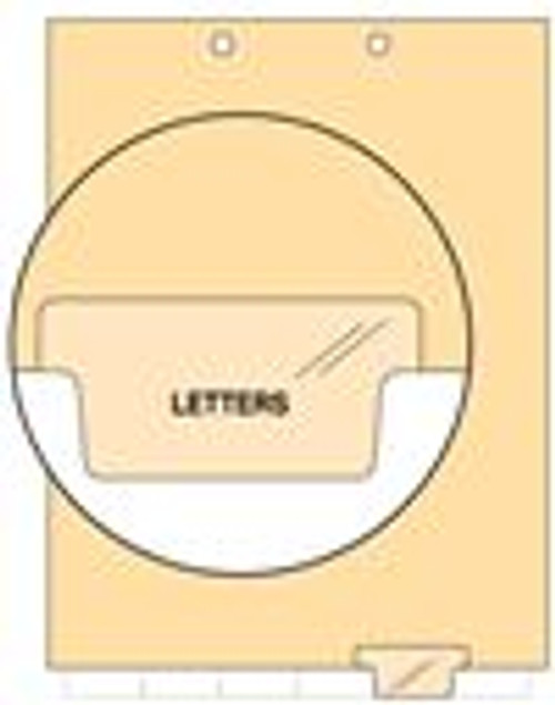 """Letters"" - Index Chart Divider-  Bottom Tab Position 5 - Clear Colored Tab - 100/Package"