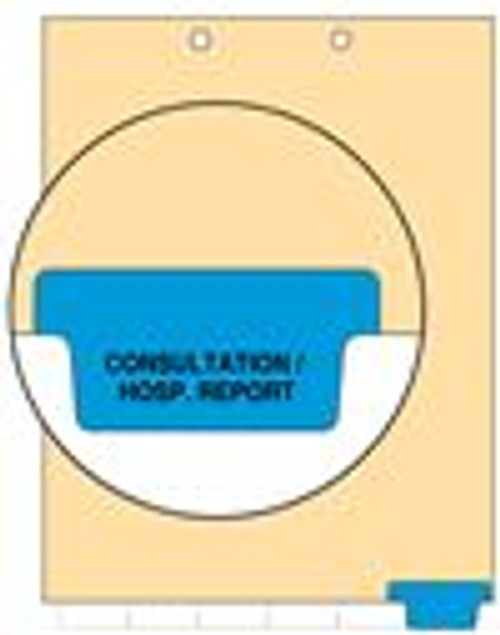 """""""Consultation/Hosp. Report"""" - Index Chart Divider-  Bottom Tab in Position 6 - Blue - 100/Package"""