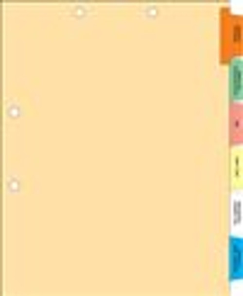 Pre-Printed Medical Index Chart Divider Sets - 1/6 Cut Tabs - Side Tabs - Manila Stock - 50/Sets Per Box