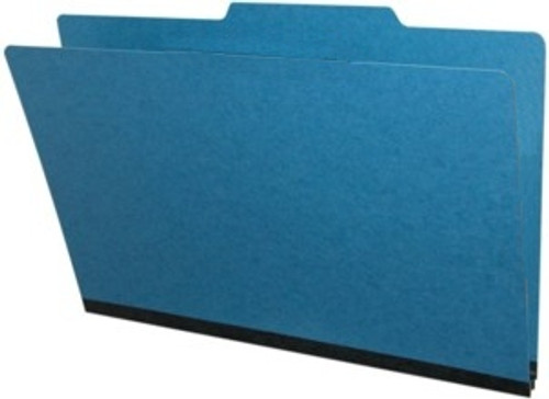 """Top Tab Type III Pressboard Folder  - Legal Size - 2"""" Expansion - Fasteners in Positions 1 & 3 - Box of 25 - Color = Royal Blue"""