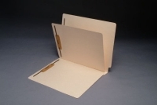 End Tab Folder, 11 Pt. Manila, Full Cut End Tab, Fasteners in 1 & 3,  Letter Size, 1 Divider Installed - 40/Box