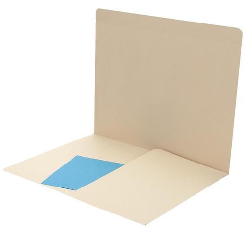 Folder: 11 Pt. Manila End Tab-Left Half Pocket - Letter Size, Full Cut End Tab - Box of 50