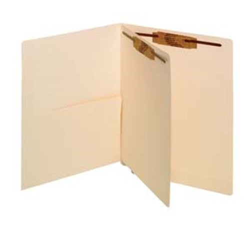Folder with Half Pocket - End Tab Folder with Left Side Half Pocket and Fastener in Position 1 - One Divider with Fasteners both sides - Pack of 50