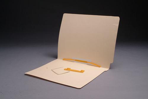 Folder - 14 Pt. Manila End Tab - Full Cut Reinforced End Tab - Letter Size  - U-Clip Fastener in Position  5 - 50/Box
