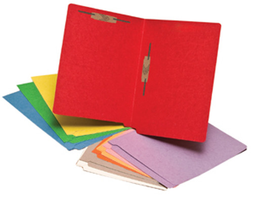 Red Colored 14 Pt. End Tab Folder with 2 Fasteners in Positions 3 & 5 - Full Cut Reinforced End Tab - Letter Size -50/Box