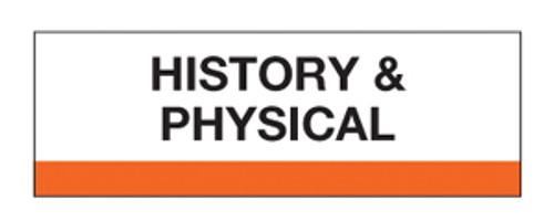 """""""History & Physical"""" Chart Divider Tabs  1-1/4 x 1-1/2 - 100/pk"""
