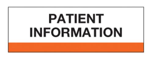 """Patient Information"" Chart Divider Tabs -  Orange - 100/Pack"