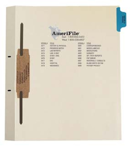 """History/Physical"" Side Tab Fileback Dividers - Blue Tab in Position 1 -  50 per pack"
