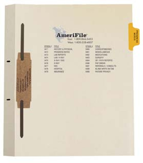 """""""Progress Notes"""" Side Tab Fileback Dividers - Yellow Tab in Position 2 - 50/Box"""