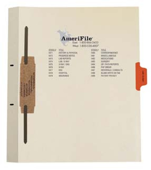 """Lab/X-Ray"" Side Tab-Fileback Dividers - Orange Tab in Position 4 - 50 per pack"