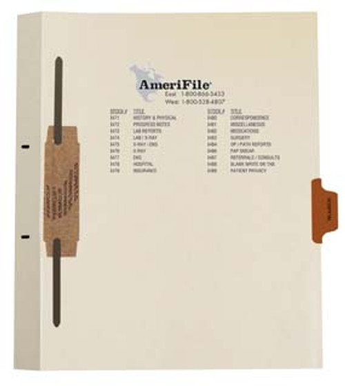 """Hospital"" Side Tab-Fileback Dividers - Brown Tab in Position 5 - 50 per pack"