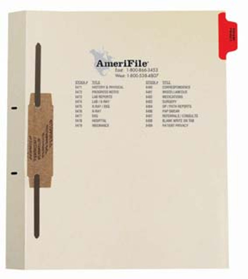 """""""Patient Privacy"""" Side Tab - Fileback Dividers With Fastener on Side  - Red Tab in Position 1 - 50 per pack"""