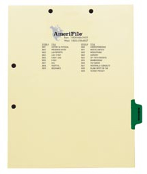 """Mammogram"" Side Tab-Chart Dividers - Dark Green Tab in Position 6 - 50 per box"