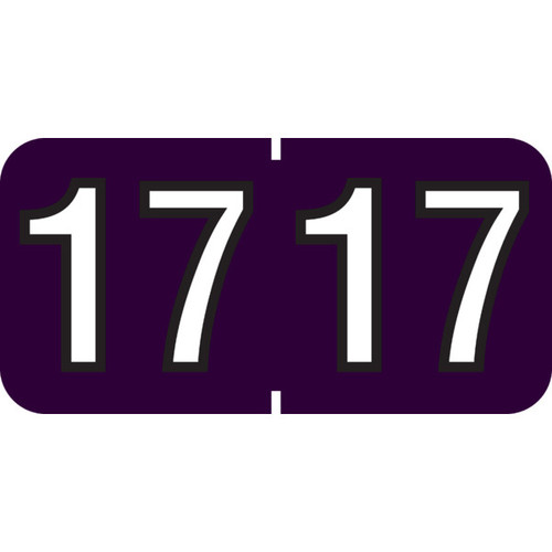 """1 1/2"""" x 3/4"""" Year Labels: TAB Products Compatible-250 Roll-Purple 2017"""