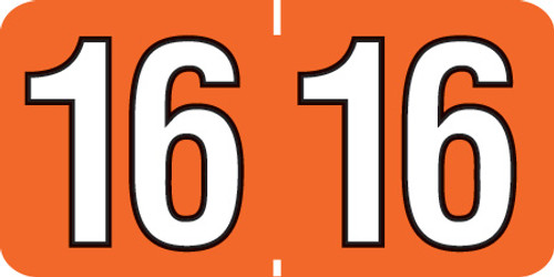"""1 1/2"""" x 3/4"""" Year Labels: Patterson Colwell Jewel Tone Compatible-250 Roll-Orange 2016"""