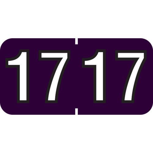 """1 1/2"""" x 3/4"""" Year Labels: TAB Products Compatible-500 Roll-Purple 2017"""