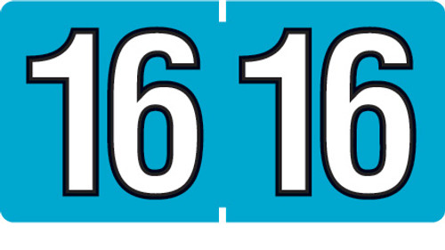 """1 1/2"""" x 3/4"""" Year Labels: AmeriFile-500 Roll-Teal 2016"""