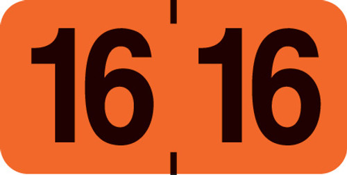 """1 1/2"""" x 3/4"""" Year Labels: Smead Jeter Compatible-500 Roll-Orange 2016"""