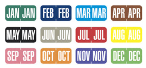 """TAB Products Compatible Month Mini-Labels - Full Set of 12 Months - 1"""" W x 1/2"""" H - 500 per Roll of Each Month"""