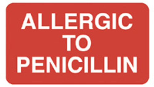"""ALLERGIC TO PENICILLIN"" - RED"