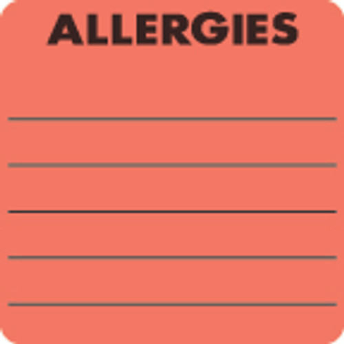 """""""ALLERGIES"""" Label- FL. RED - 2"""" x 2"""" - Box of 250"""